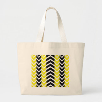 Yellow and Black Whale Chevron Large Tote Bag