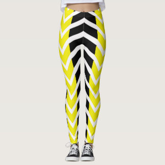 Yellow and Black Whale Chevron Leggings