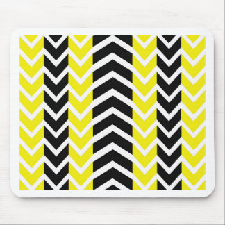 Yellow and Black Whale Chevron Mouse Pad