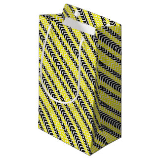 Yellow and Black Whale Chevron Small Gift Bag