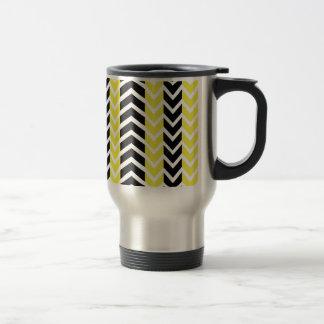 Yellow and Black Whale Chevron Travel Mug