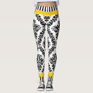 Yellow and black white damask pattern & stripes leggings