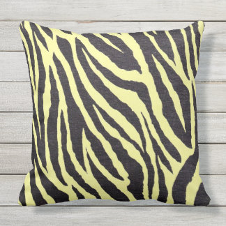 Yellow and black Zebra stripes Outdoor Cushion