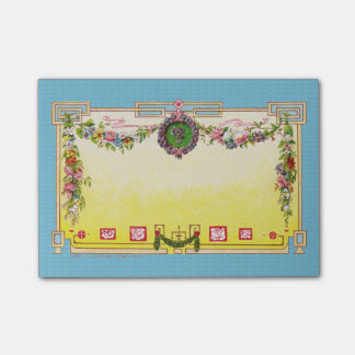 Yellow and Blue Antique French Perfume Sticky Note Post-it® Notes