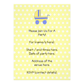 Yellow and Blue Baby Stroller Custom Invitations