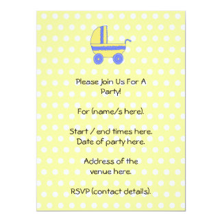 Yellow and Blue Baby Stroller. Custom Invitations
