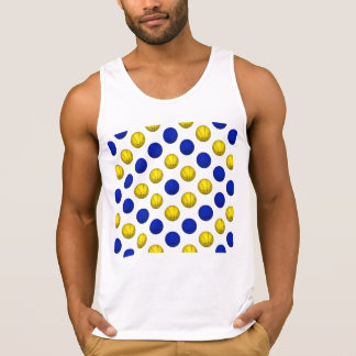 Yellow and Blue Basketball Pattern Tank Top