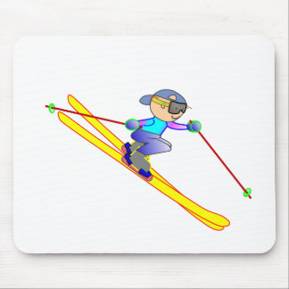 Yellow and Blue Cartoon Skier Going Downhill Mouse Pads