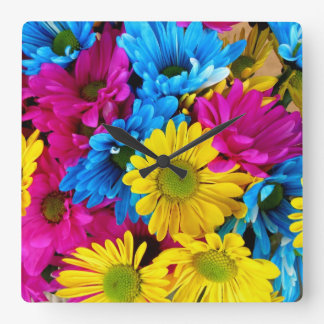 Yellow and Blue Daisies Clock