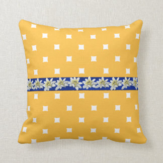 Yellow and Blue Edelweiss Accent Pillow