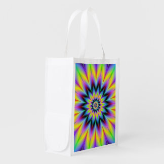 Yellow and Blue Flower Grocery Bag