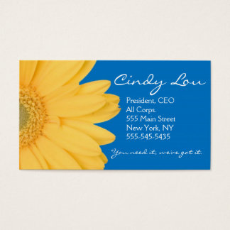 Yellow and Blue Gerber Daisy Business Cards