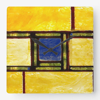 Yellow and Blue Glass Window Clock