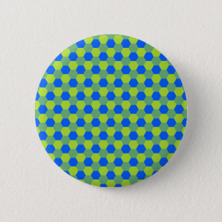 Yellow and blue honeycomb pattern 6 cm round badge