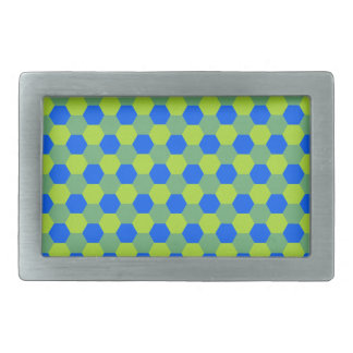 Yellow and blue honeycomb pattern belt buckle