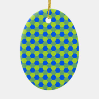 Yellow and blue honeycomb pattern ceramic ornament