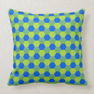 Yellow and blue honeycomb pattern cushion
