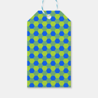 Yellow and blue honeycomb pattern gift tags