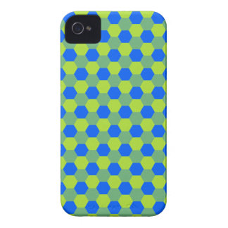 Yellow and blue honeycomb pattern iPhone 4 cases