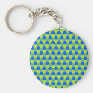 Yellow and blue honeycomb pattern key ring