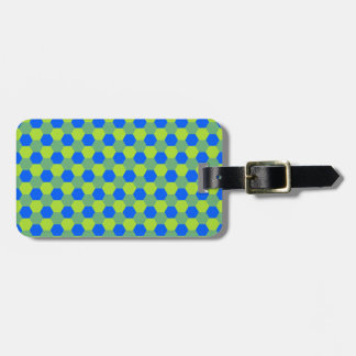 Yellow and blue honeycomb pattern luggage tag