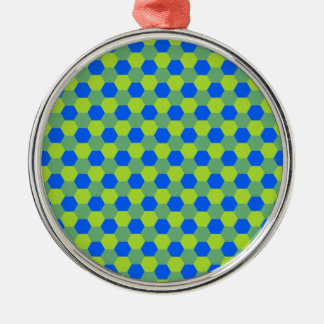 Yellow and blue honeycomb pattern metal ornament