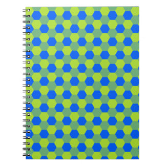 Yellow and blue honeycomb pattern notebook