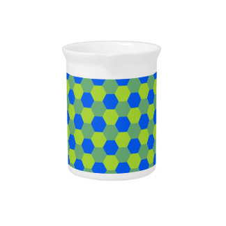 Yellow and blue honeycomb pattern pitcher