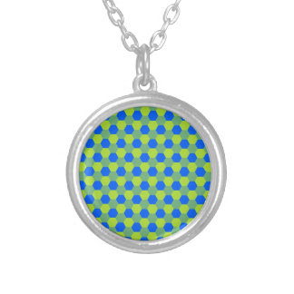 Yellow and blue honeycomb pattern silver plated necklace