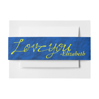 Yellow and Blue Love You Invitation Belly Band