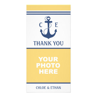 Yellow and Blue Nautical Photo Thank You Card