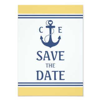 Yellow and Blue Nautical Save the Date Card