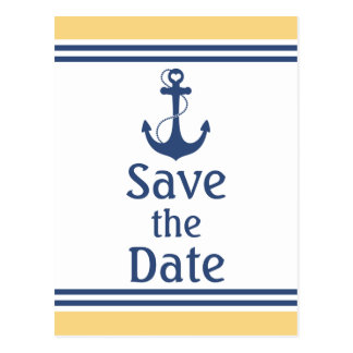 Yellow and Blue Nautical Save the Date Postcard
