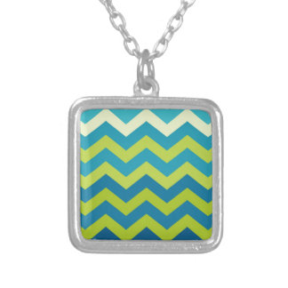Yellow and Blue Ombre Zigzags Square Pendant Necklace