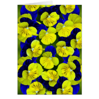 Yellow and blue pansies greeting card