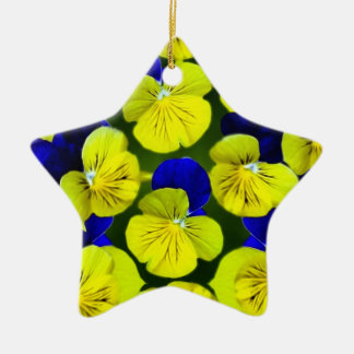Yellow and blue pansies ceramic star decoration