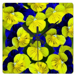 Yellow and blue pansies square wallclock