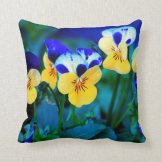 YELLOW AND BLUE PANSY PILLOW CUSHION