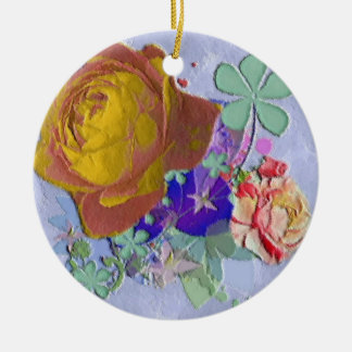 Yellow and blue pink roses floral ornament