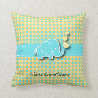 Yellow and Blue Plaid Baby Elephant Nursery Theme Throw Pillow