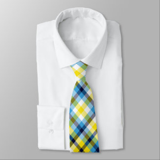 Yellow and Blue Plaid Tie