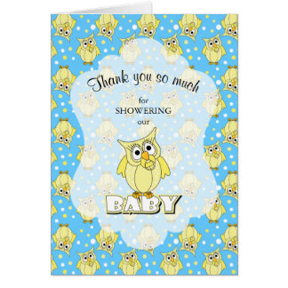 Yellow and Blue Polka Dot Owl Baby Shower Theme Card