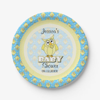 Yellow and Blue Polka Dot Owl Baby Shower Theme Paper Plate