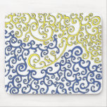 Yellow and Blue Swirlies Mouse Pad