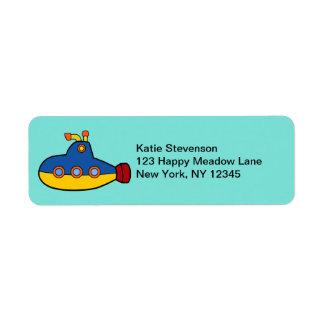 Yellow and Blue Toy Submarine Return Address Label