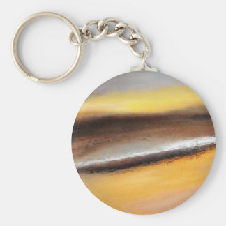 Yellow and Brown Abstract Button Keychain