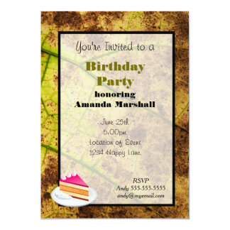 "Yellow and Brown Dying Macro Leaf 5"" X 7"" Invitation Card"