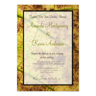 "Yellow and Brown Dying Macro Leaf Wedding 5"" X 7"" Invitation Card"