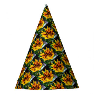 Yellow and Brown Gazania Party Hat