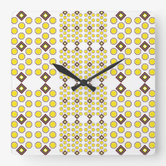 Yellow and Brown Geoometric Wall Clock